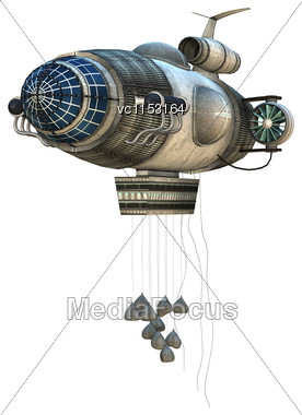 3D Digital Render Of A Fantasy Zeppelin Starship Isolated On White Background Stock Photo