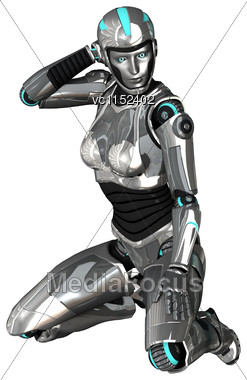 3D Digital Render Of A Female Cyborg Isolated On White Background Stock Photo