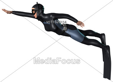 3D Digital Render Of A Female Diver Isolated On White Background Stock Photo