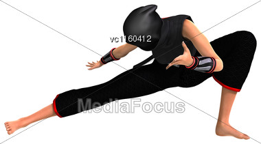 3D Digital Render Of A Female Ninja Fighting Isolated On White Background Stock Photo