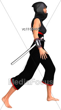 3D Digital Render Of A Female Ninja Isolated On White Background Stock Photo