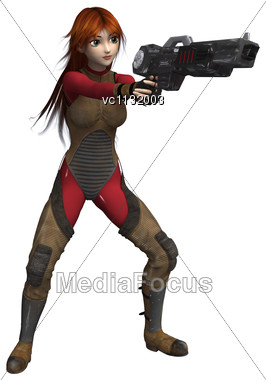 3D Digital Render Of A Female Super Hero Holding A Gun Isolated On White Background Stock Photo