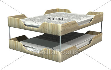 3D Digital Render Of Filing Baskets With Inbox Papers Isolated On White Background Stock Photo