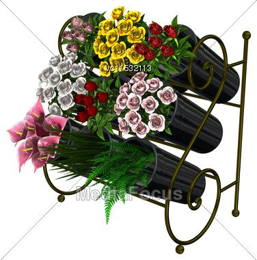3D Digital Render Of A Flower Stand Isolated On White Background Stock Photo