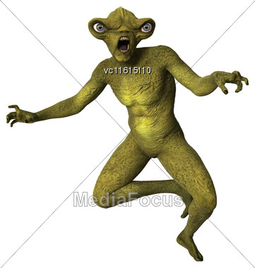 3D Digital Render Of A Green Alien Isolated On White Background Stock Photo