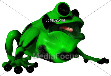 3D Digital Render Of A Green Cartoon Frog Isolated On White Background Stock Photo