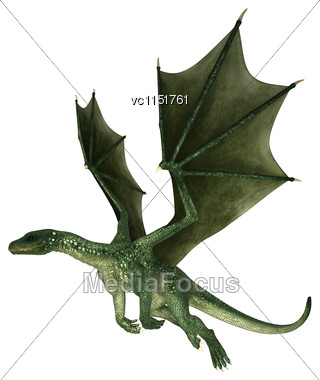 3D Digital Render Of A Green Evil Fairytale Dragon Flying Isolated On White Background Stock Photo