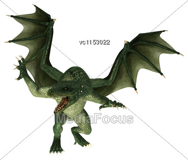 3D Digital Render Of A Green Fantasy Dragon Isolated On White Background Stock Photo