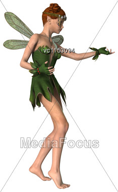 3D Digital Render Of A Green Fantasy Spring Fairy Isolated On White Background Stock Photo