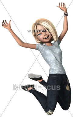 3D Digital Render Of A Happy Jumping Teenage Girl Isolated On White Background Stock Photo