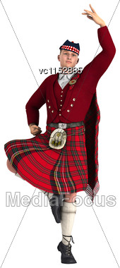 3D Digital Render Of A Highlander Dancing Isolated On White Background Stock Photo