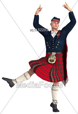 3D Digital Render Of A Highlander Wearing A Scottish Kilt Dancing Isolated On White Background Stock Photo