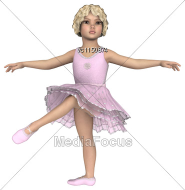 3D Digital Render Of A Little Ballerina Isolated On White Background Stock Photo