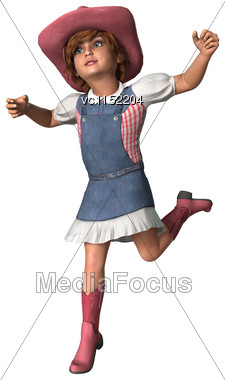 3D Digital Render Of A Little Cowgirl Running Isolated On White Background Stock Photo