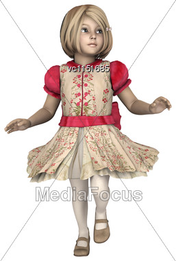3D Digital Render Of A Little Girl Playing Isolated On White Background Stock Photo