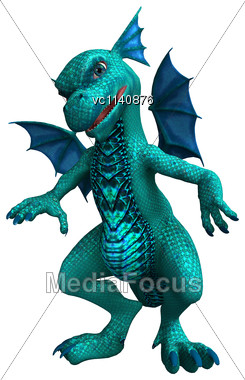 3D Digital Render Of A Little Green Dragon Isolated On White Background Stock Photo