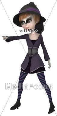 3D Digital Render Of A Little Witch Isolated On White Background Stock Photo