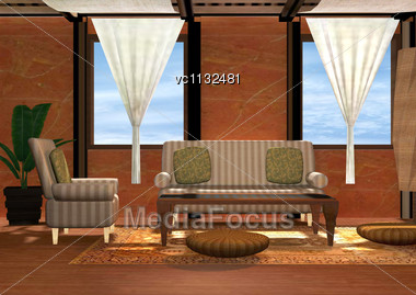 3D Digital Render Of A Luxury Living Room Stock Photo