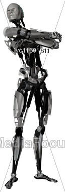 3D Digital Render Of A Male Cyborg Isolated On White Background Stock Photo