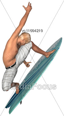 3D Digital Render Of A Male Handsome Surfer Isolated On White Background Stock Photo