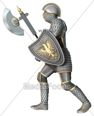 3D Digital Render Of A Medieval Knight Isolated On White Background Stock Photo