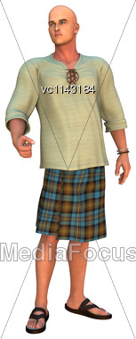 3D Digital Render Of A Modern Manwearing A Scottish Kilt Isolated On White Background Stock Photo