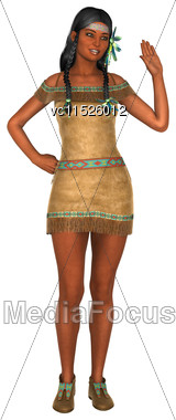 3D Digital Render Of A Native American Woman Waving Isolated On White Background Stock Photo