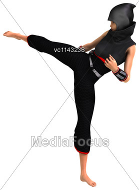 3D Digital Render Of A Ninja Isolated On White Background Stock Photo