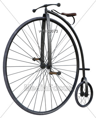 3D Digital Render Of An Old Fashioned Bicycle Isolated On White Background Stock Photo