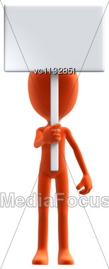 3D Digital Render Of An Orange Little Guy Holding A Blank Sign Isolated On White Background Stock Photo
