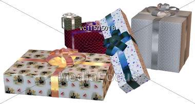 3D Digital Render Of A Pile Of Christmas Presents Isolated On White Background Stock Photo