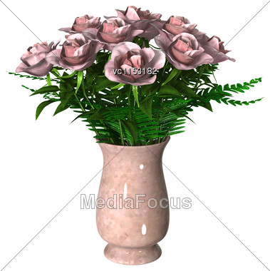 3D Digital Render Of Pink Roses Isolated On White Background Stock Photo