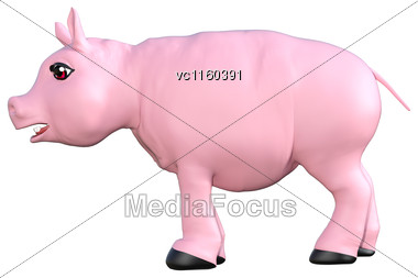 3D Digital Render Of A Pink Toy Pig Isolated On White Background Stock Photo