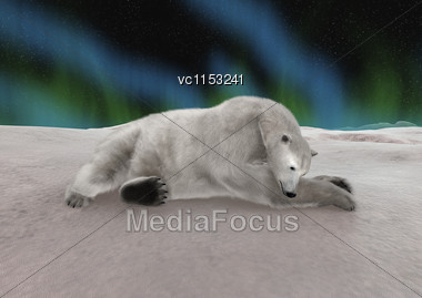3D Digital Render Of A Polar Bear Resting Isolated On Northern Lights Background Stock Photo