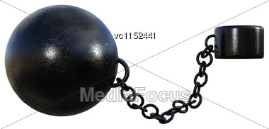 3D Digital Render Of A Prisoner Ball And A Chain Isolated On White Background Stock Photo