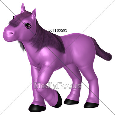 3D Digital Render Of A Purple Pony Isolated On White Background Stock Photo