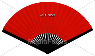 3D Digital Render Of A Red Asian Fan Isolated On White Background Stock Photo