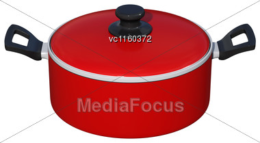 3D Digital Render Of A Red Dutch Oven Isolated On White Background Stock Photo