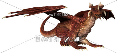 3D Digital Render Of A Red Fantasy Dragon Isolated On White Background Stock Photo