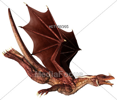 3D Digital Render Of A Red Fantasy Dragon Flying Isolated On White Background Stock Photo