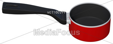 3D Digital Render Of A Red Saucepan Isolated On White Background Stock Photo