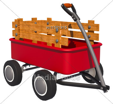 3D Digital Render Of A Red Transport Trolley Isolated On White Background Stock Photo