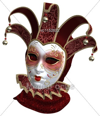 3D Digital Render Of A Red Venetian Mask Isolated On White Background Stock Photo