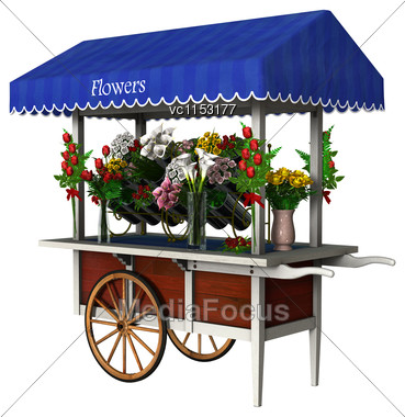3D Digital Render Of A Retro Flower Cart Isolated On White Background Stock Photo