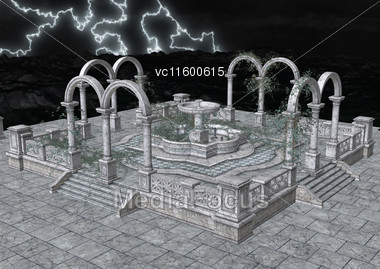 3d Digital Render Of Romanesque Architecture At Night Stock Photo