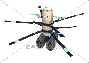 3D Digital Render Of A Rotor Drone Isolated On White Background Stock Photo