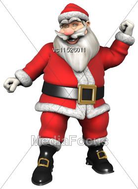 3D Digital Render Of Santa Doing Sport Isolated On White Background Stock Photo