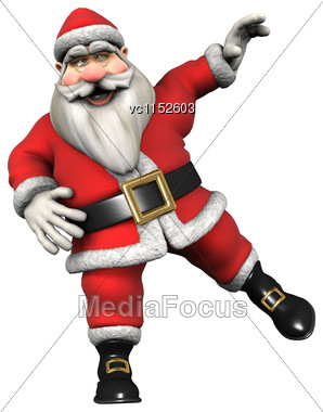 3D Digital Render Of Santa Doing Sport Isolated On White Background Stock Photo