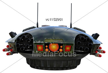 3D Digital Render Of A Sci-fi Drone Isolated On White Background Stock Photo