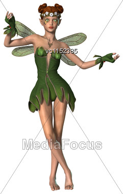 3D Digital Render Of A Spring Fairy Isolated On White Background Stock Photo